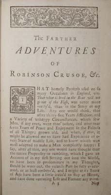 Image for THE FARTHER ADVENTURES OF ROBINSON CRUSOE
